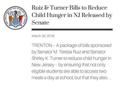 TRENTON – A package of bills sponsored by Senator M. Teresa Ruiz and Senator Shirley K. Turner to reduce child hunger in New Jersey – by ensuring that not only eligible students are able to access two meals a day at school, but that they also do not go hungry during the summer months – were approved by the Senate today.