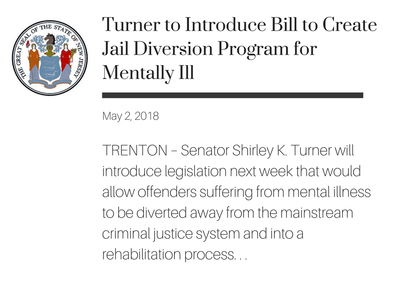 TRENTON – Senator Shirley K. Turner will introduce legislation next week that would allow offenders suffering from mental illness to be diverted away from the mainstream criminal justice system and into a rehabilitation process that addresses criminal behavior in the context of mental disorders.
